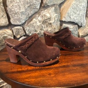 Suede Leather UGG Mules, Size 7, Brown